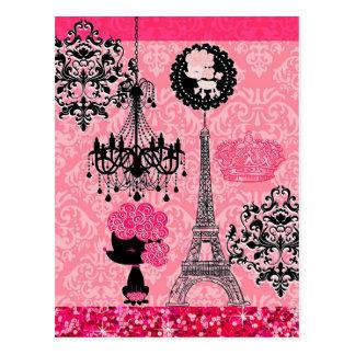 French Girly Eiffel Tower, Puppy & Damask Elegant Post Card