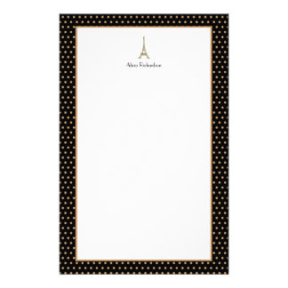 French Glam Black, Gold, and White Eiffel Tower Stationery