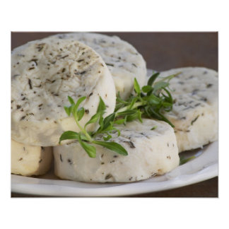 French goat cheese - chevre - with herbs on a poster