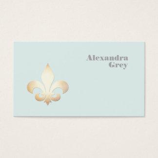 French Gold Leaf Fleur de Lis Light Blue Business Card