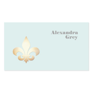 French Gold Leaf Fleur de Lis Light Blue Double-Sided Standard Business Cards (Pack Of 100)