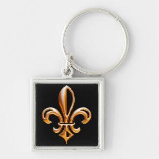 French Golden Fleur de Lis Silver-Colored Square Keychain