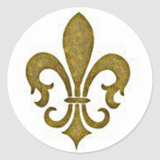 French Golden Gold Fleur-de-lis Flower Stickers