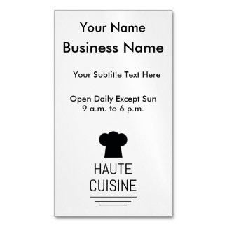 French Gourmet Haute Cuisine Business Card Magnet