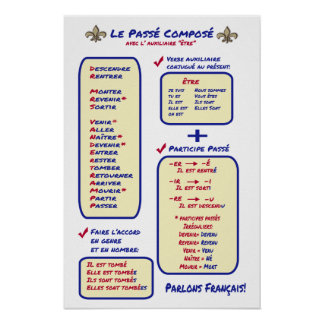 French Grammar Passe Compose Etre Poster