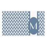 French Gray Elegant Chevron Monogram Business Card