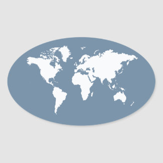 French Gray Elegant World Oval Sticker