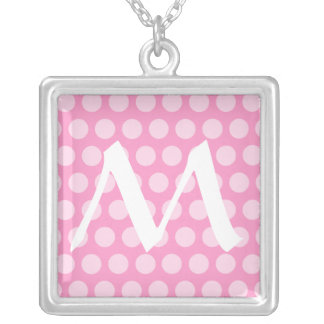 French Gray Moroccan Dots with monogram Silver Plated Necklace