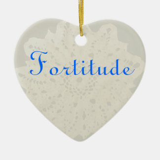 French Grey Character Holiday Fortitude Heart Ceramic Ornament
