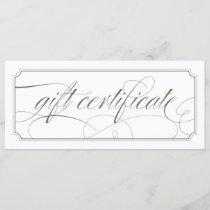French Grey Elegant Script Gift Certificates