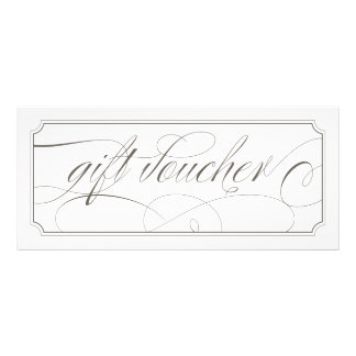 French Grey Elegant Script Gift Vouchers Rack Card