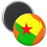 FRENCH Guiana flag map 2 Inch Round Magnet