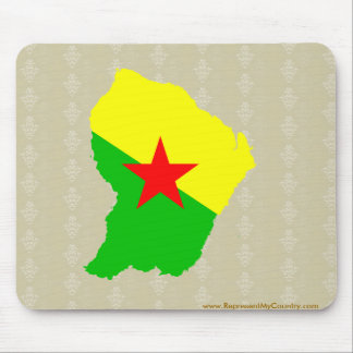 French Guiana Flag Map full size Mouse Pad