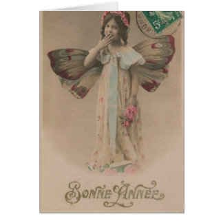 French Happy New Year Fairy Girl Vintage Greeting Card