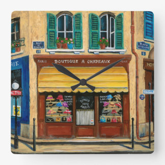 French Hats and Purses Shop Square Wall Clock