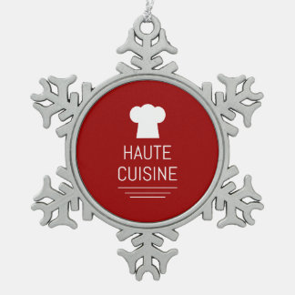 French Haute Cuisine Gourmet Foodie Snowflake Pewter Christmas Ornament