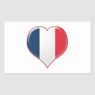 French Heart Charm Rectangle Stickers