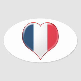 French Heart Charm Oval Stickers