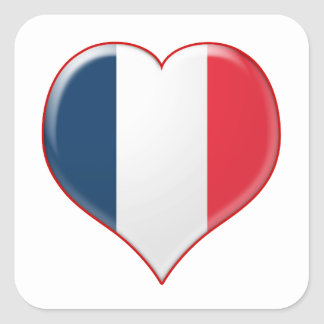 French Heart Charm Square Stickers