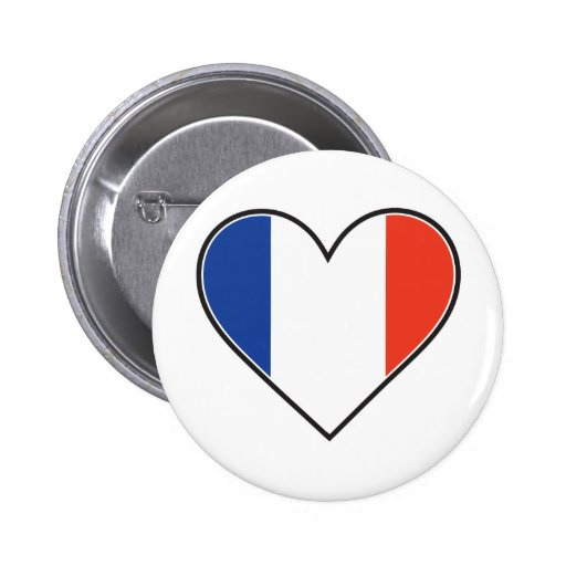 French Heart Flag Button