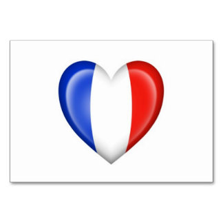 French Heart Flag on White Card