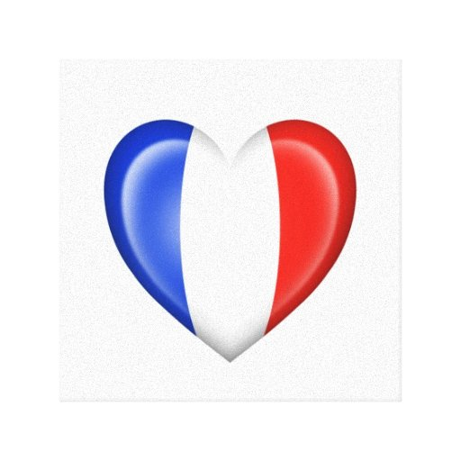 French Heart Flag on White Stretched Canvas Print