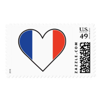 French Heart Flag Postage Stamp