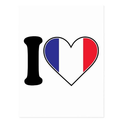 French Heart Flag Postcard