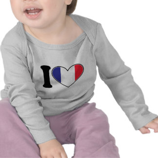 French Heart Flag T Shirts