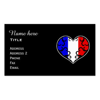 French heart personalized business card