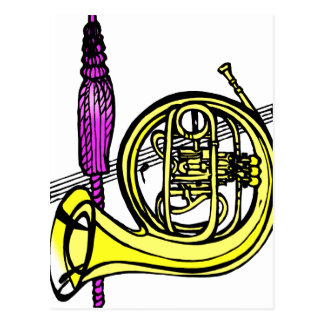 French horn and tassel product design postcard