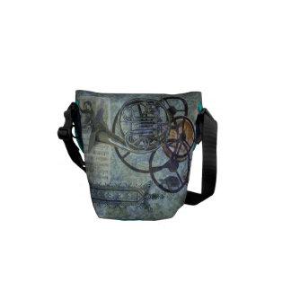 French Horn Aqua Steampunk Scene Courier Bag