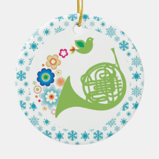 French Horn Band Music Christmas Keepsake Double-Sided Ceramic Round Christmas Ornament