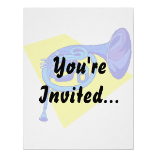 French Horn Blue Version With Yellow Custom Invite