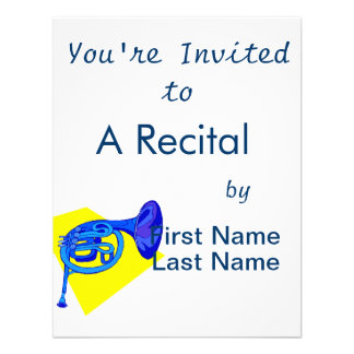 French Horn Blue Version With Yellow Personalized Invites
