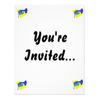French Horn Blue Version With Yellow Personalized Announcement