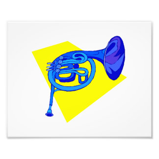 French Horn Blue Version With Yellow Photo Print