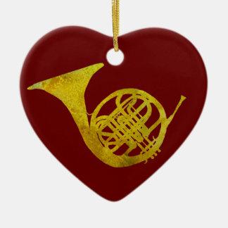 French Horn Ceramic Ornament