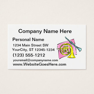 French Horn Clarinet Pink Background Graphic Business Card