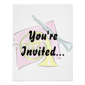 French Horn Clarinet Pink Background Graphic Invite