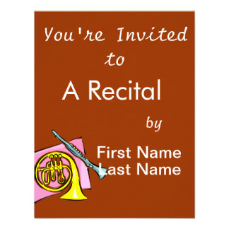 French Horn Clarinet Pink Background Graphic Custom Invitation