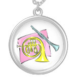 French Horn Clarinet Pink Background Graphic Necklace