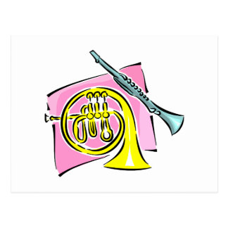 French Horn Clarinet Pink Background Graphic Postcard