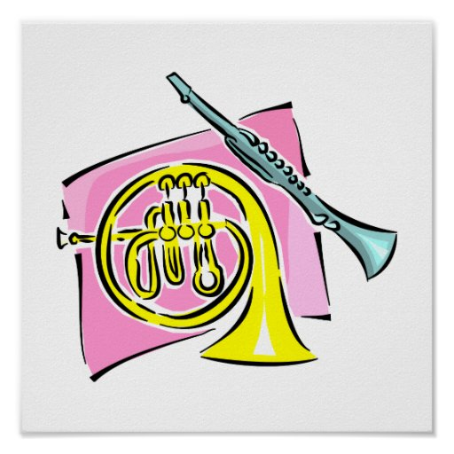French Horn Clarinet Pink Background Graphic Posters