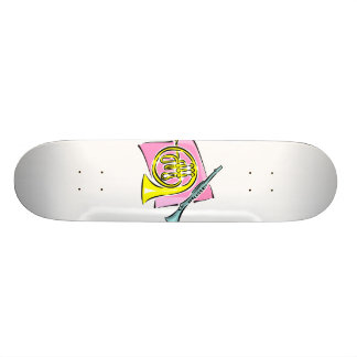 French Horn Clarinet Pink Background Graphic Skateboard Deck
