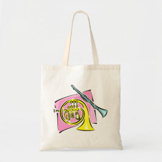 French Horn Clarinet Pink Background Graphic Tote Bag