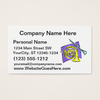French Horn Clarinet Purple Background Graphic Business Card