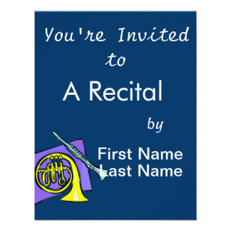 French Horn Clarinet Purple Background Graphic Announcement