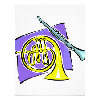 French Horn Clarinet Purple Background Graphic Custom Announcements
