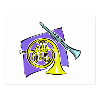 French Horn Clarinet Purple Background Graphic Postcard